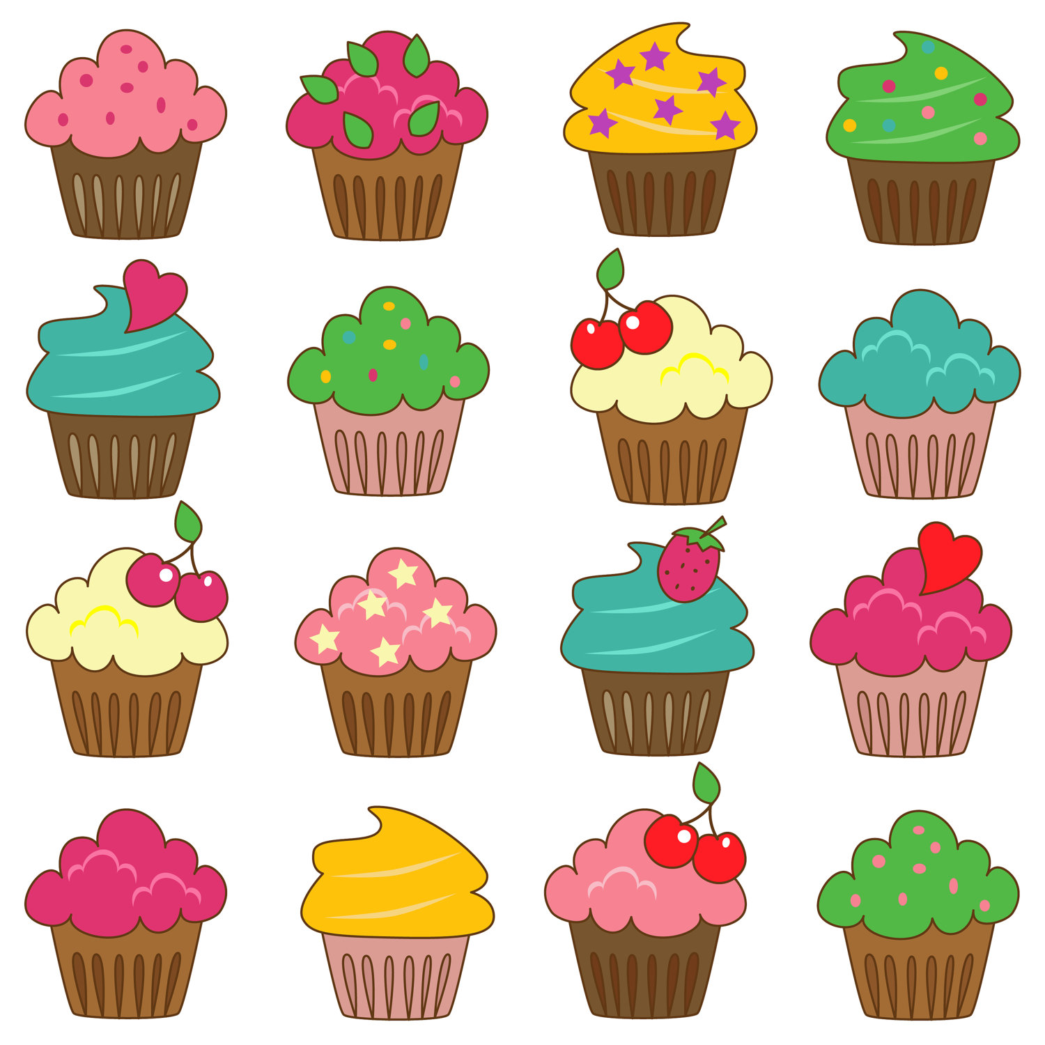 Free Printable Images Of Cupcakes : Decorated Cupcakes Clipart Image Cake - ClipArt Best ...
