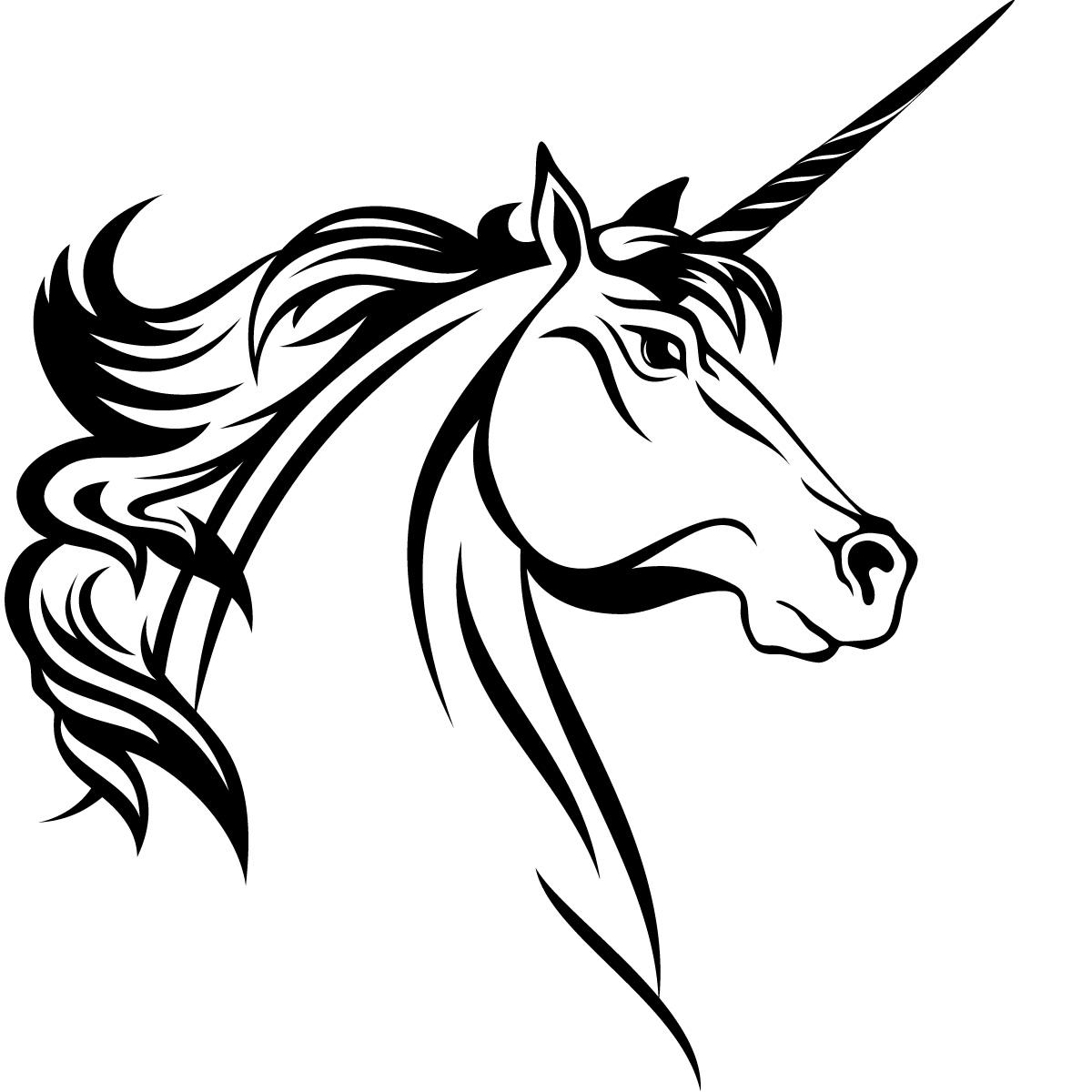 unicorn clipart black and white - photo #23