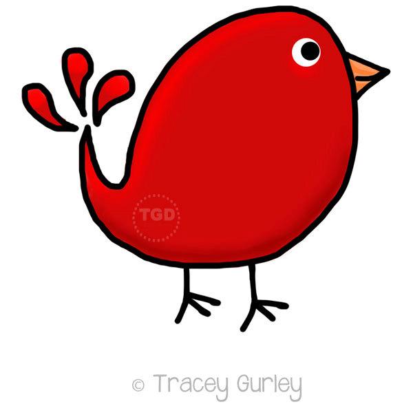 Red bird clipart