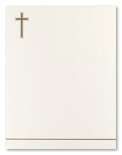 Simple Metallic Gold Cross Stationery Letterhead, 8932 ...