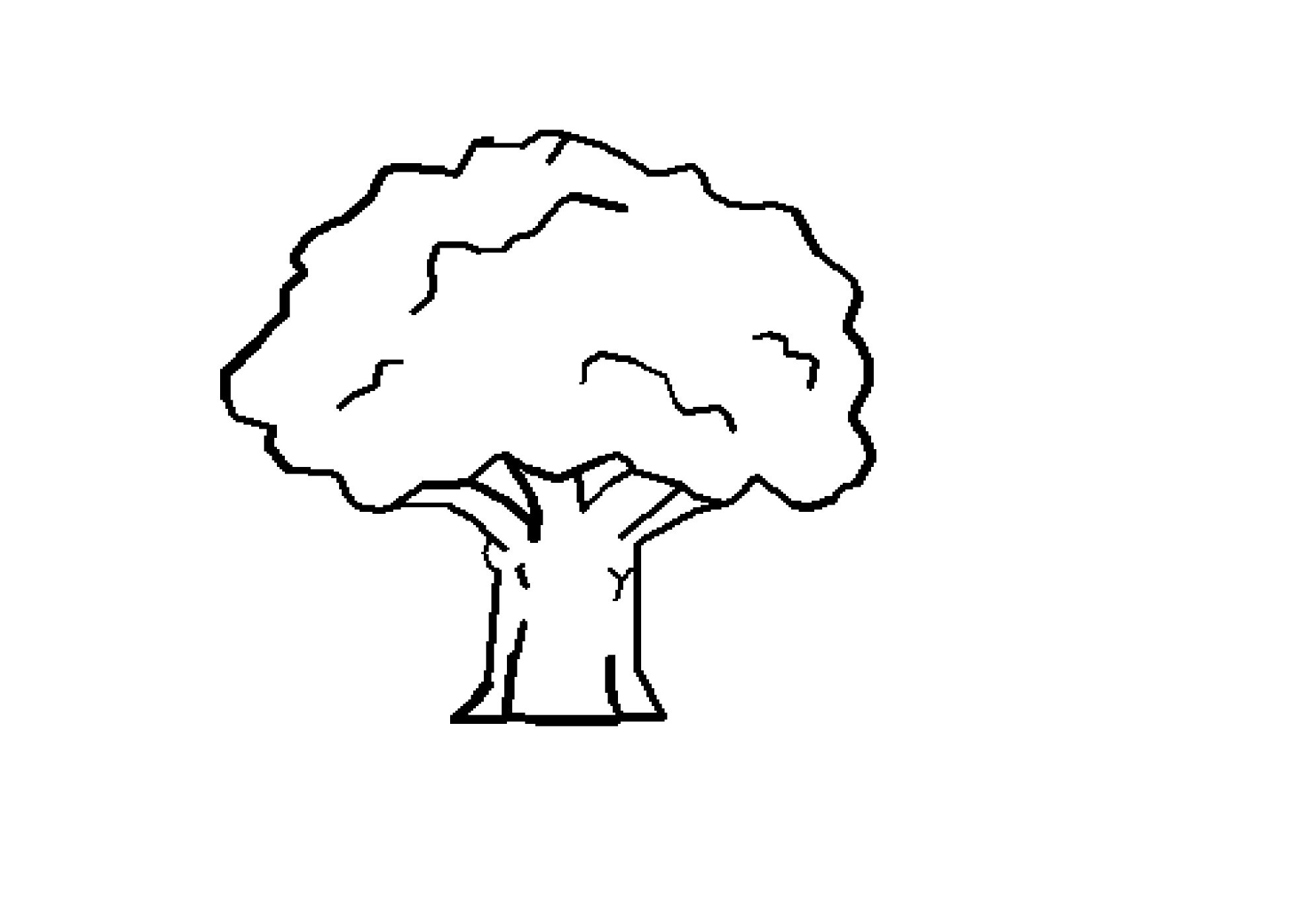 Clip Art Tree Black White Line Art Coloring