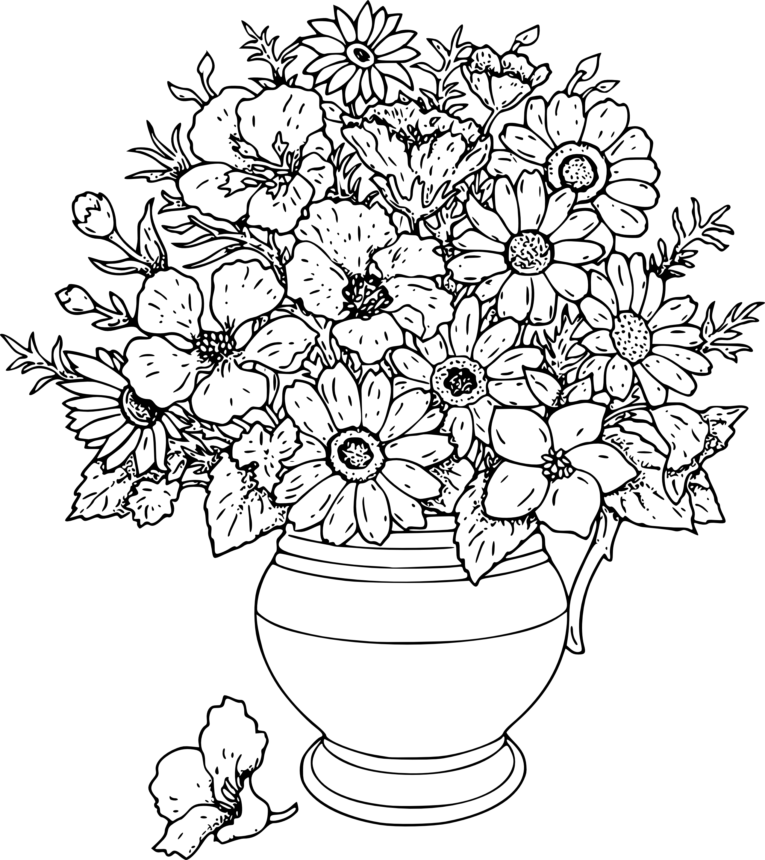 Flower Basket Line Drawing : Flowers line drawing images clipart best