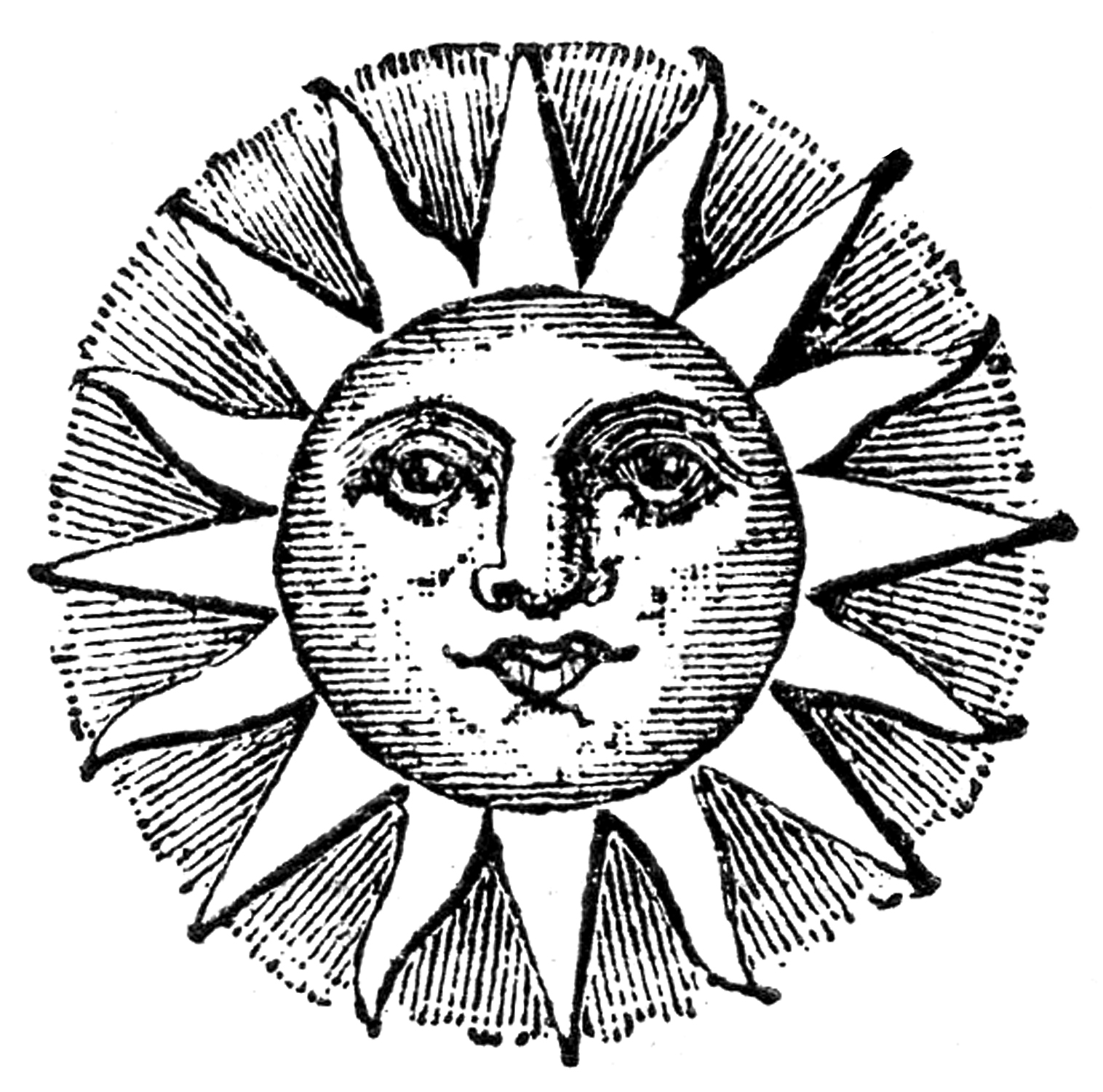 Sun Line Drawing Fashioned Sun With Face