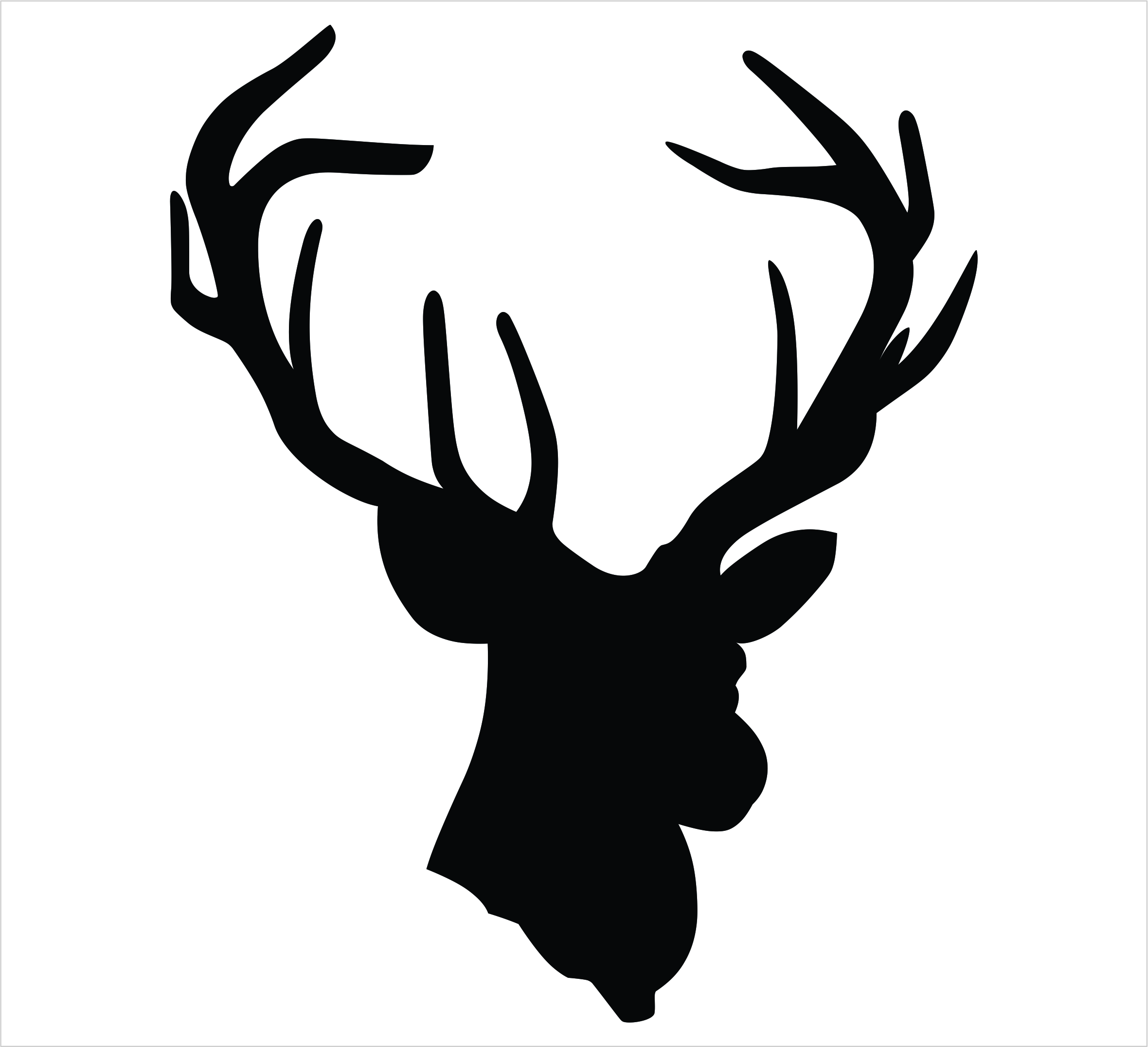 Deer Head Single Color Decal - Powercall Decals & Embroidery