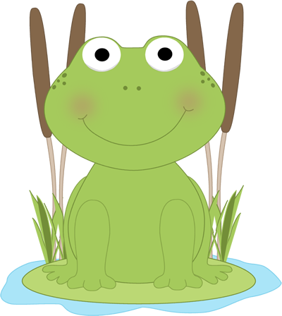 No background frog on lily pad clipart
