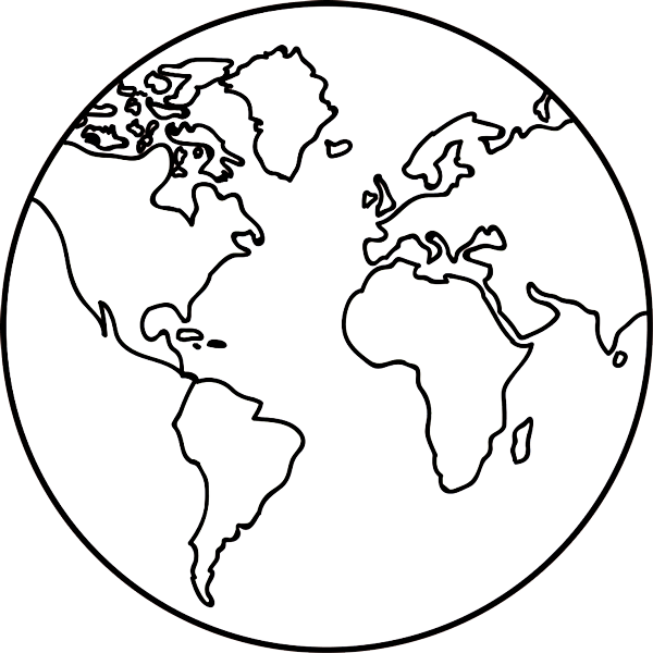 Line Drawing Earth : Earth outline black and white clipart best