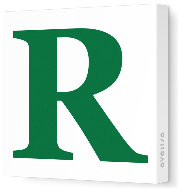 "Green R Letter - upper case ' r ' stretched wall art, 12"" x 12"", dark ..."