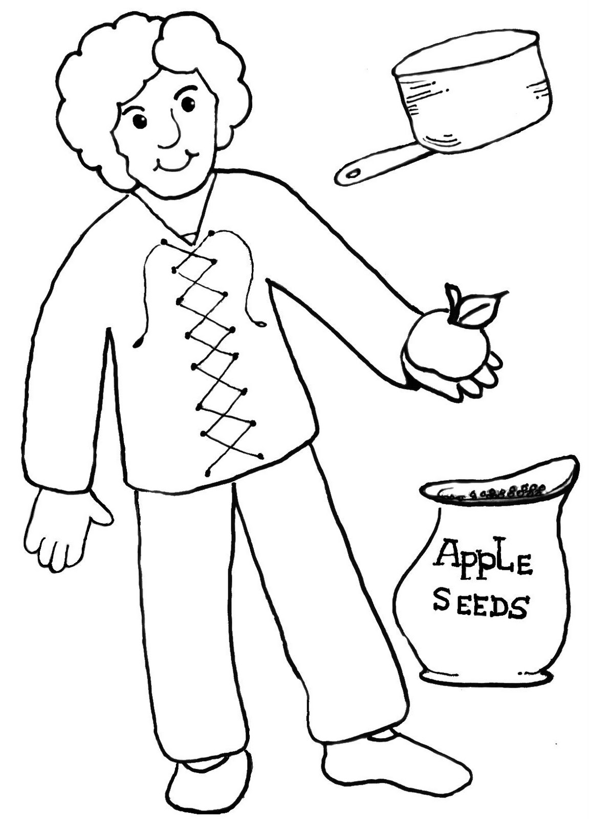 Coloring Pages Johnny Appleseed : Clip art of johnny appleseed clipart best
