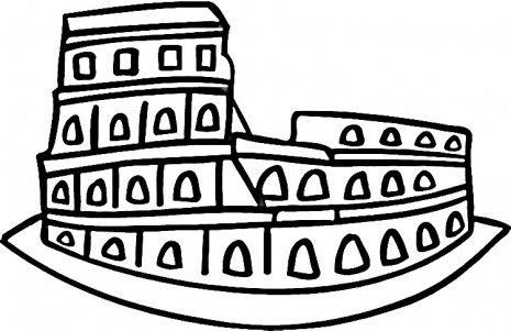 Colosseum italy cartoon clipart best for Italian coloring pages