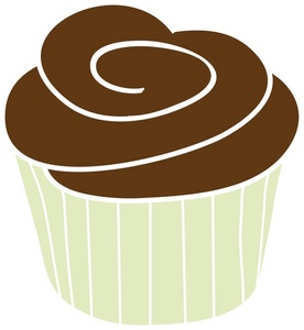 Cake Icing Clip Art : Cupcake Clipart Image - A White Cupcake With Chocolate ...