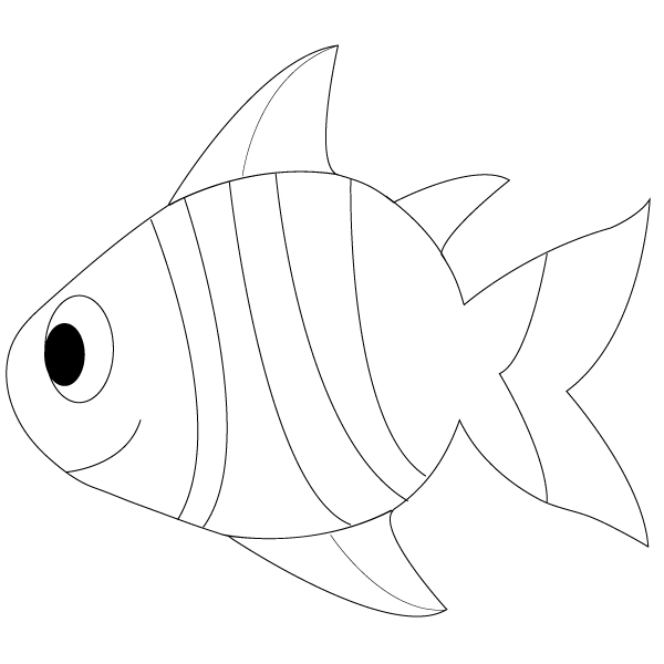 Line Drawing Fish : Fish outline to colour clipart best