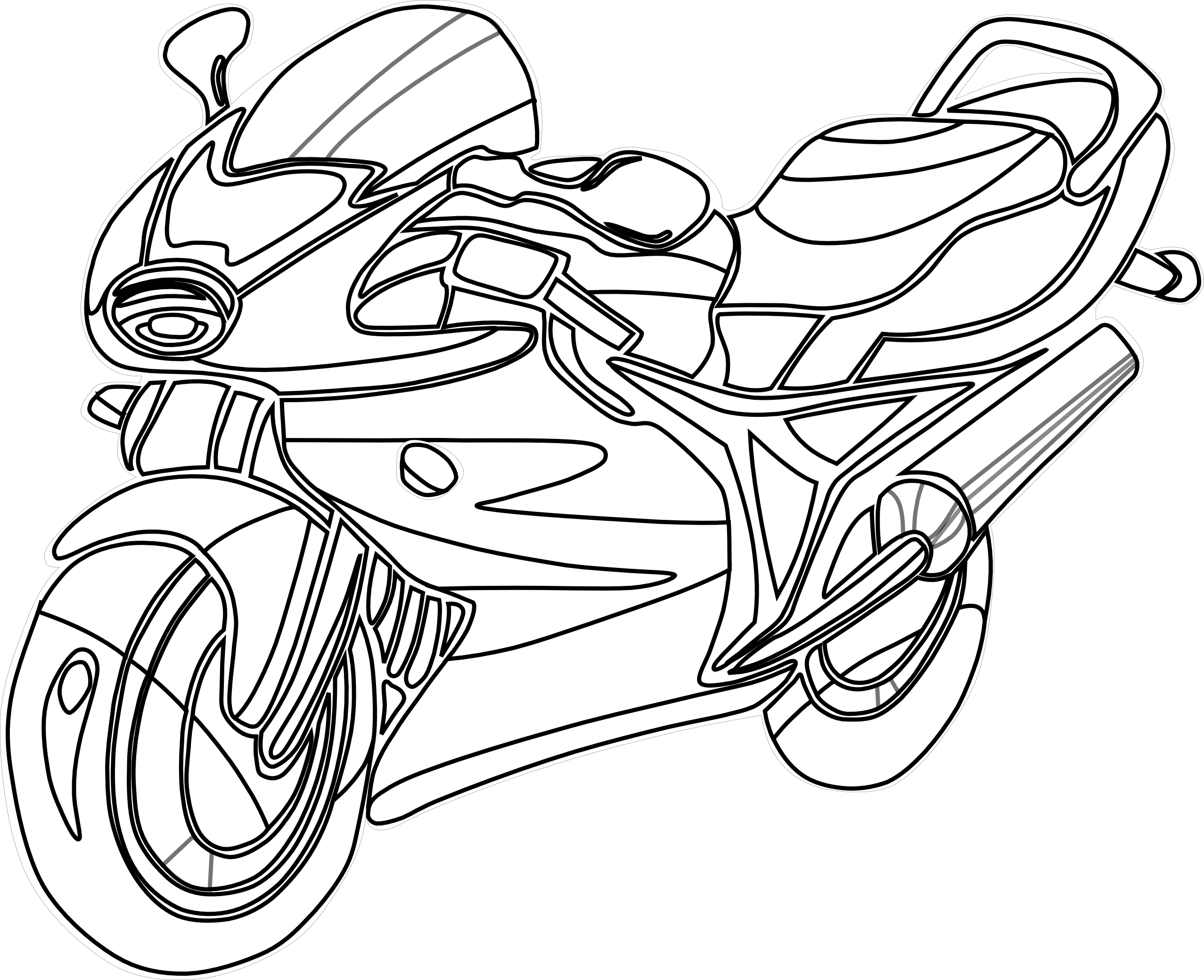 Line Art Motorcycle : Motorcycle clipart black white line art coloring