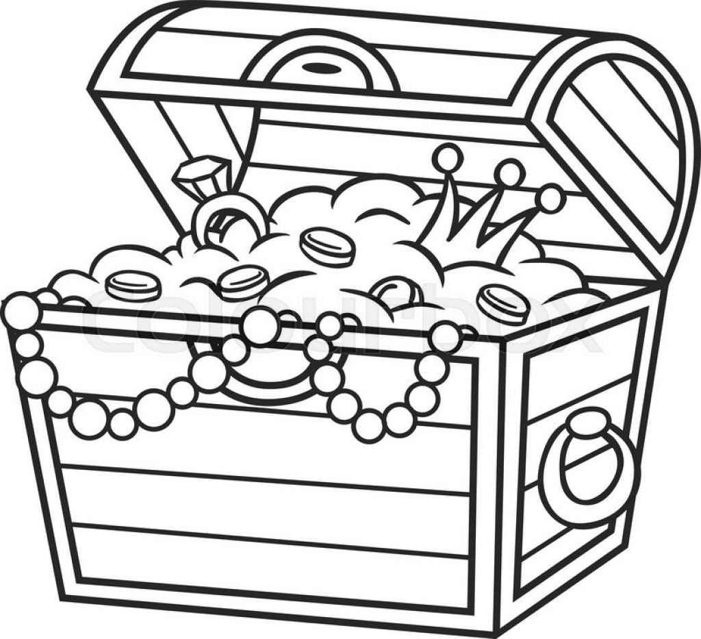 treasure coloring pages treasure chest vector clipart best