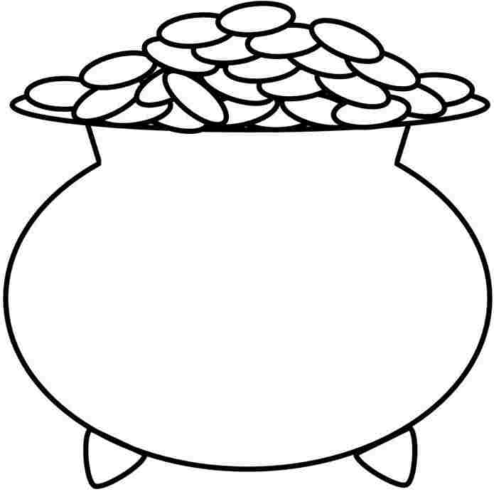 Pot of gold outline clipart best for Pot of gold coloring page printable