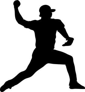 Baseball Clipart Image - Silhouette of a Baseball Player ...