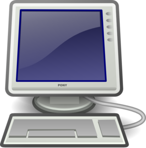 Computer Screen And Keyboard clip art