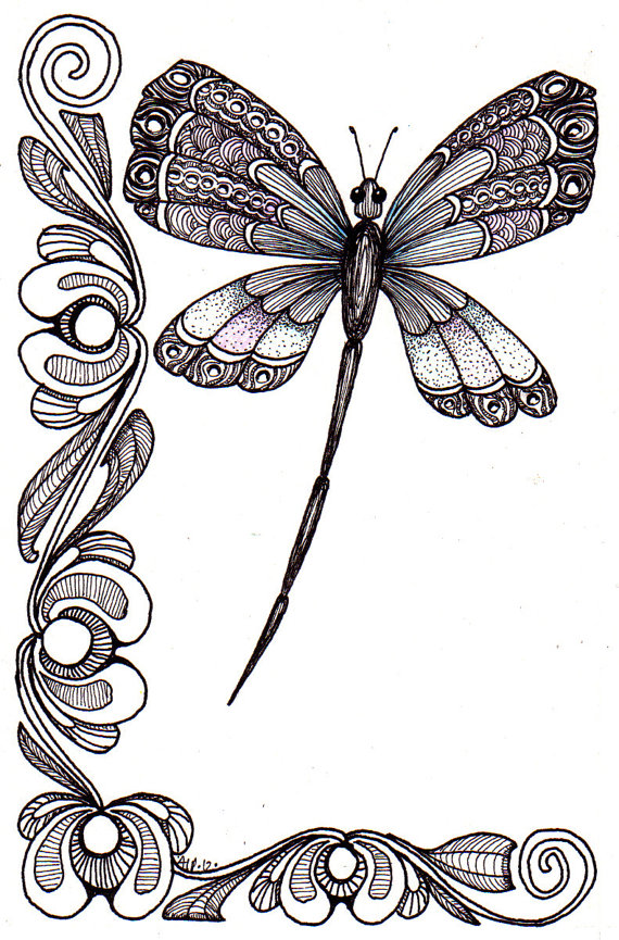 Whimsical dragonfly drawings - photo#11