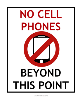 no cellphone sign printable