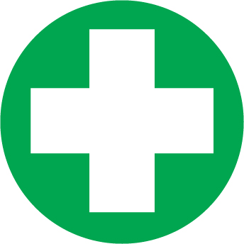 HARD HAT EMBLEMS-(WHITE CROSS ON GREEN BACKGROUND)