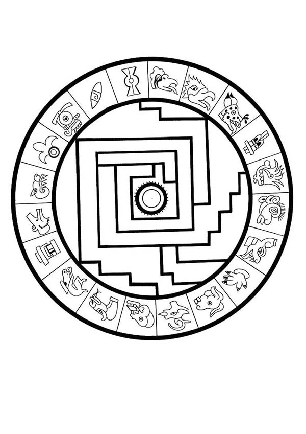 Aztec Calendar Drawing Clipart Best Aztec Calendar Coloring Page