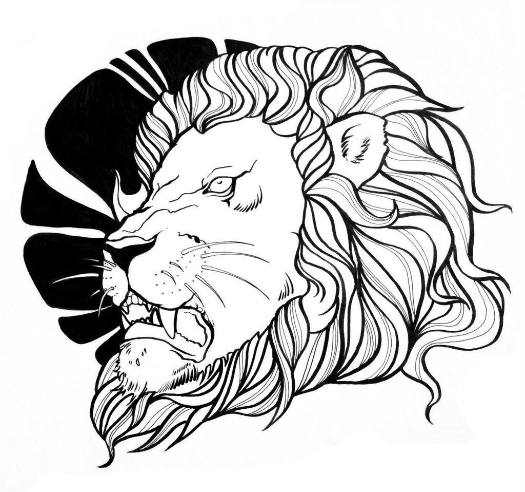 Simple lion head outline