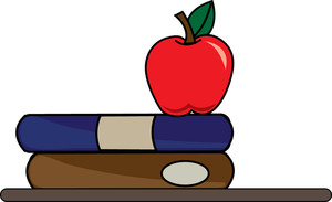 Apple and books clipart