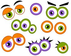 Halloween creature eyes clipart