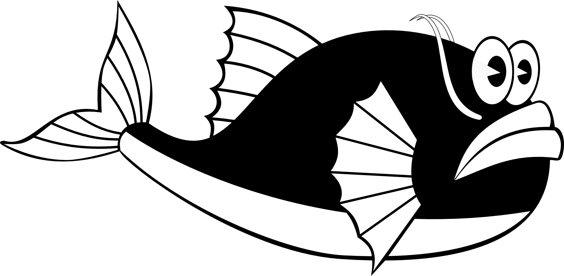 Line Drawing In Computer Graphics : Black and white fish clip art clipart best