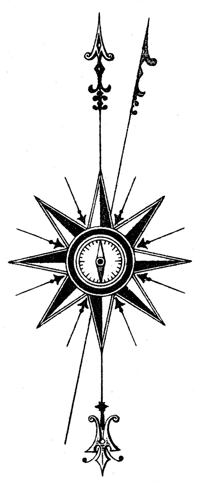 Old Map Compass Rose - ClipArt Best Antique Compass Rose Tattoo
