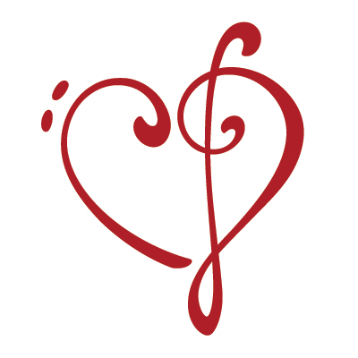 Heart made of treble and bass clefs