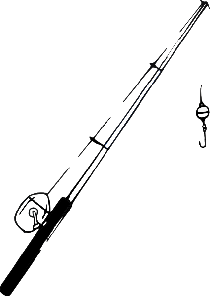 Fishing Pole Black And White Clipart