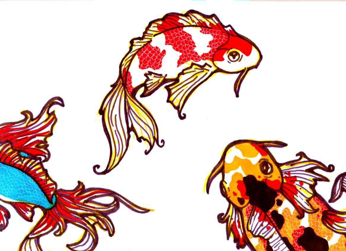 Koi fish drawing clipart best for Koi fish art