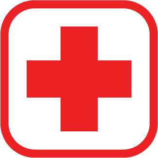 First aid red cross sticker