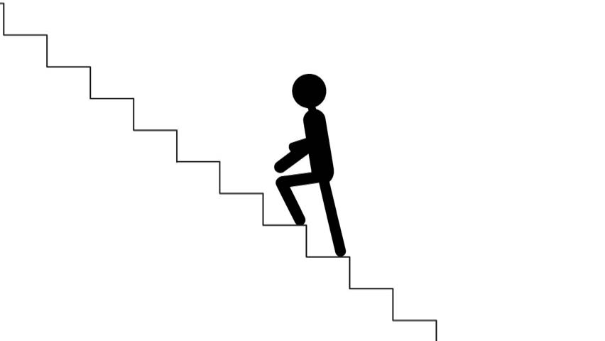 Business Success Animation Man Walking Up Stairs On White Stock Clipart Best Clipart Best