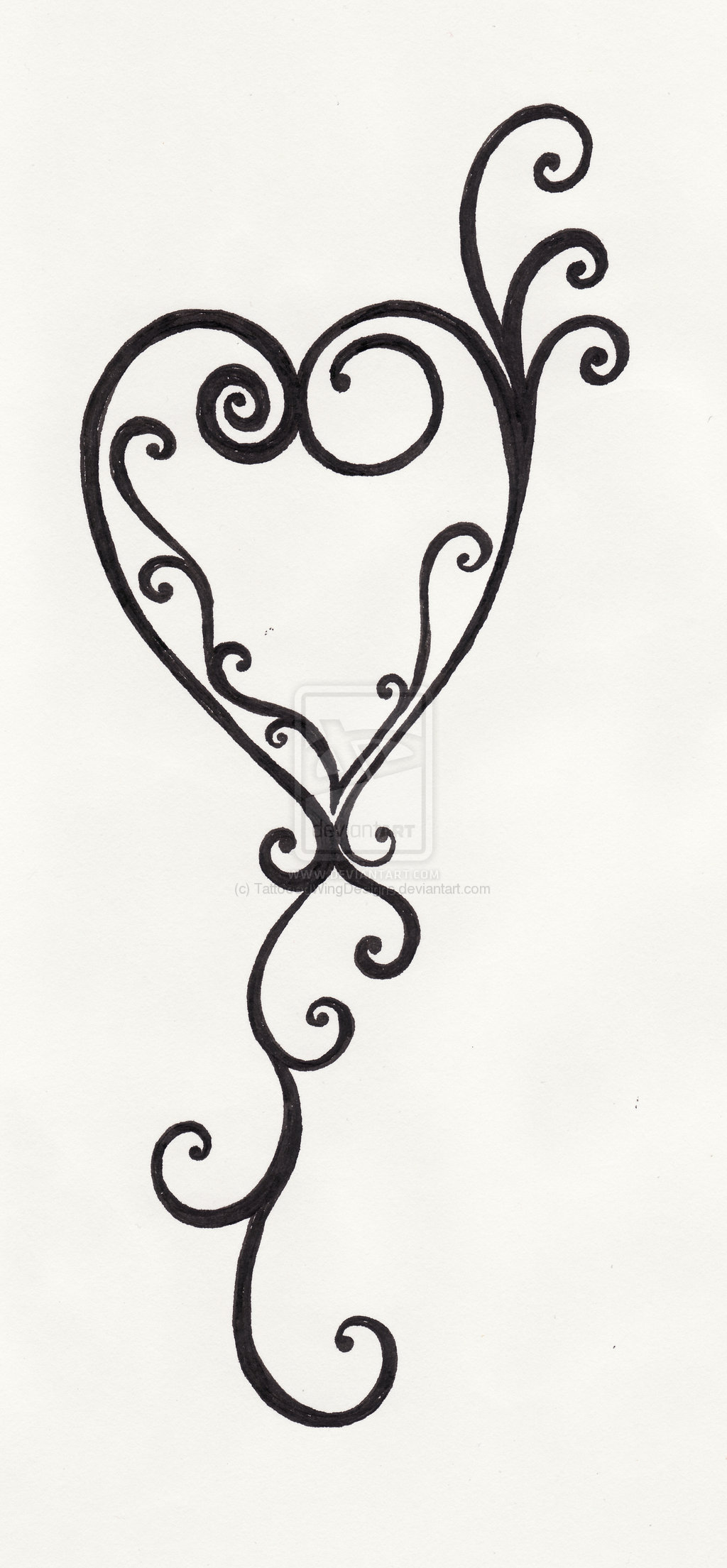 Swirl heart tattoo clipart best for Swirl tattoo designs