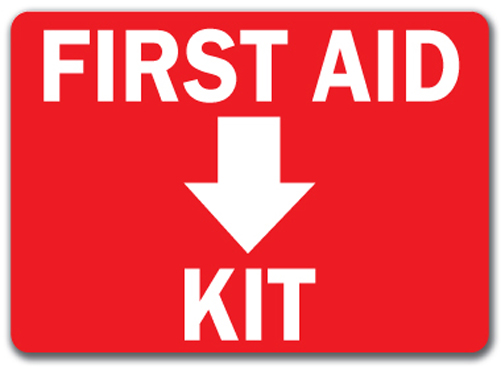 Slobbery image within printable first aid sign