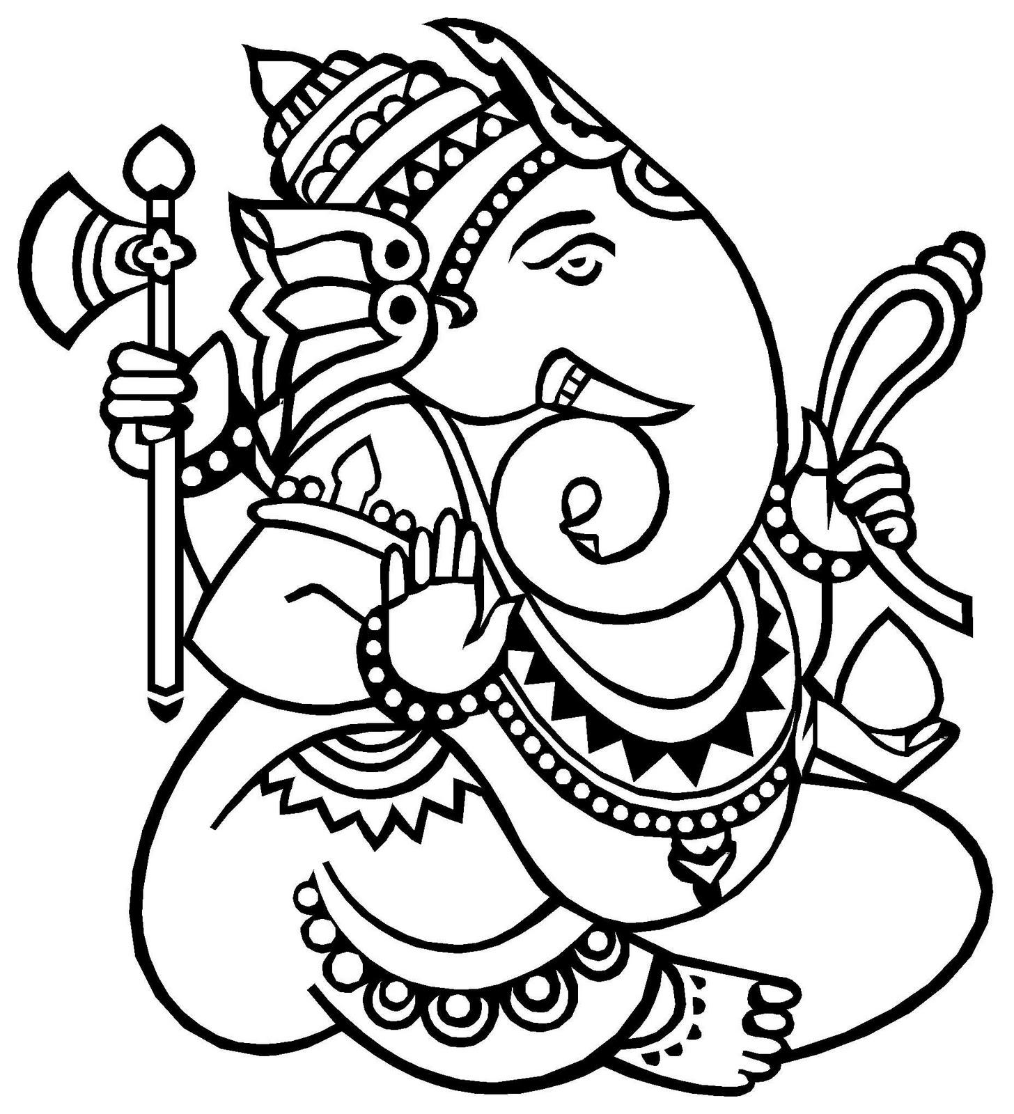 Ganesh Drawing Simple Ganesha line art · simple