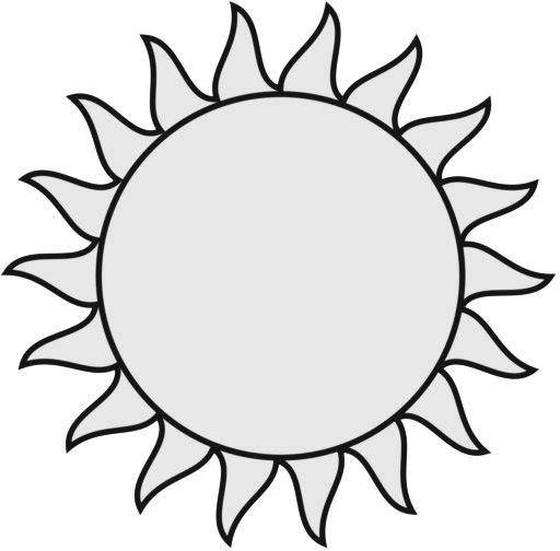 Smiling Sun Black And White Clipart