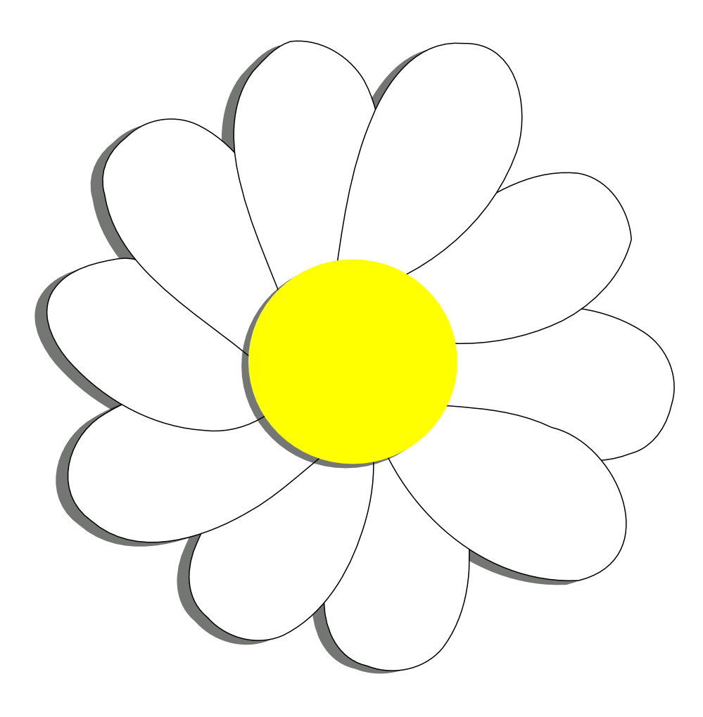 Black and white flower clipart daisy
