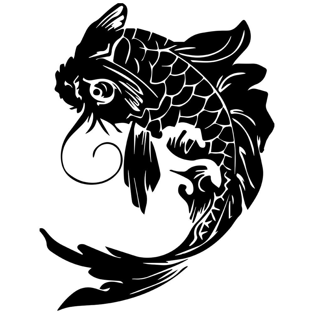 Koi fish tribal clipart best for Black and white coy fish