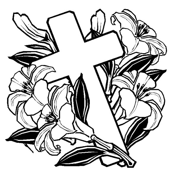 Abstract Cross Coloring Pages : Cross with flower drawings clipart best