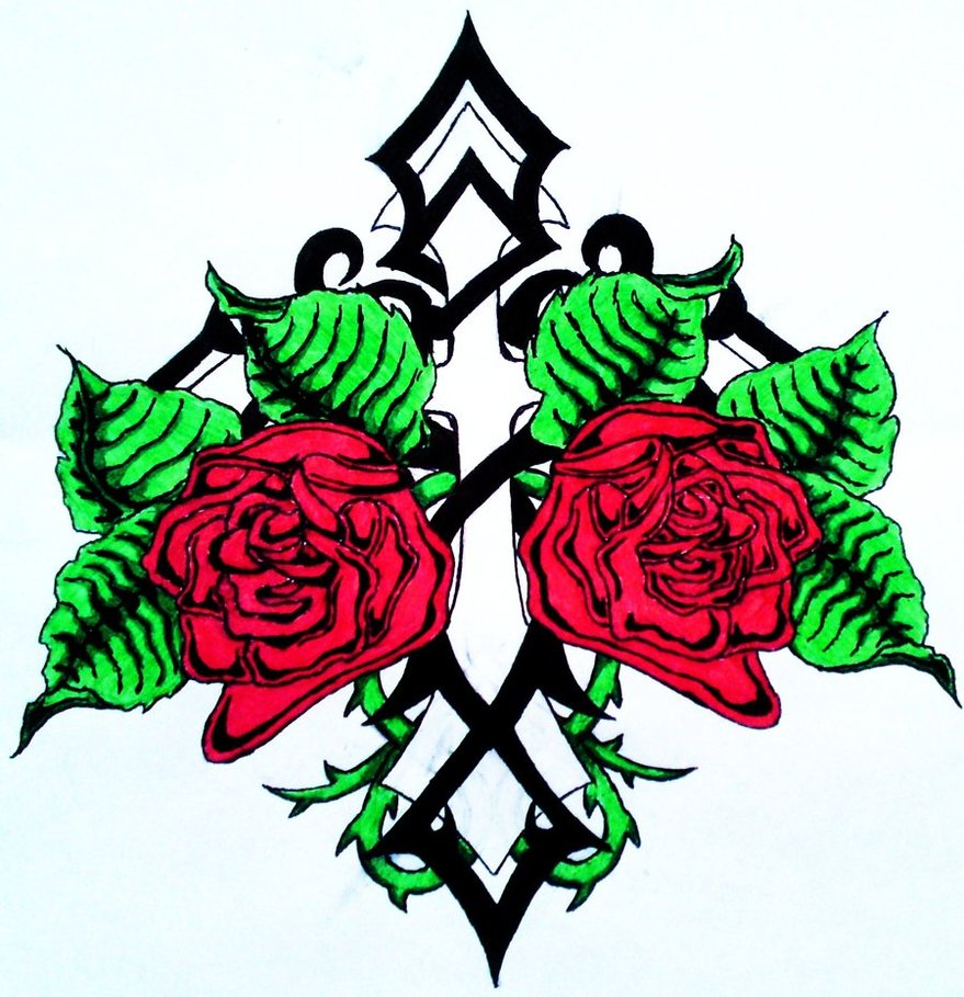 Coloring Pages Cross With Roses