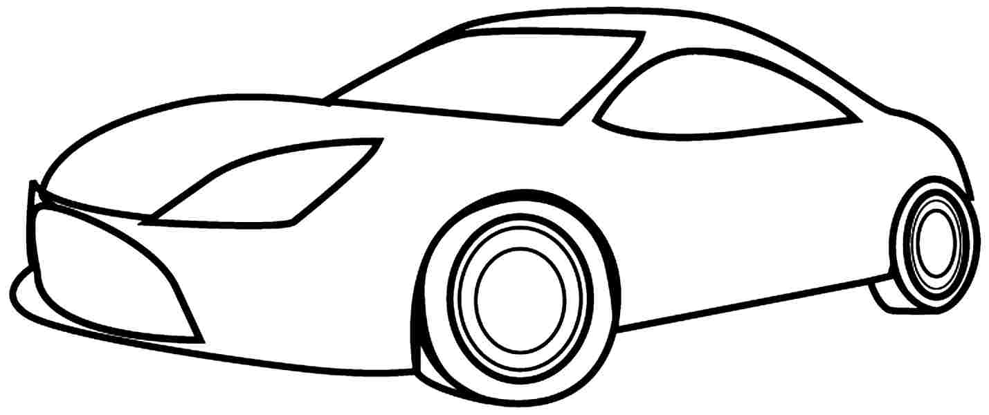 Car Coloring Pages For Kindergarten : Car simple drawing clipart best