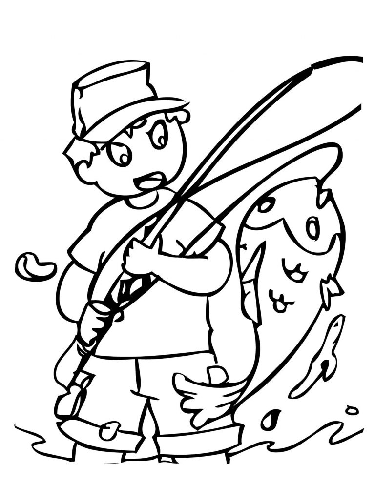Fishing Rod Coloring Page