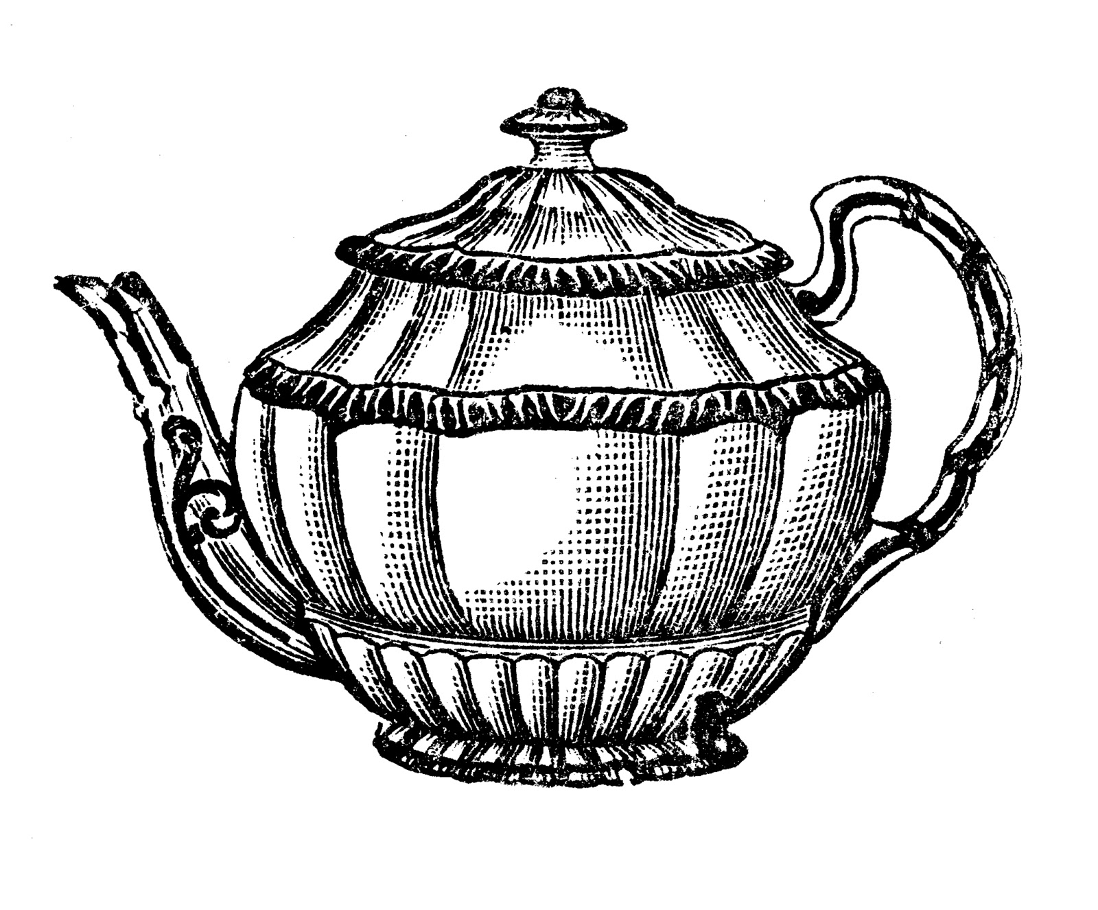 Teapot Black And White Clipart Clipart Best