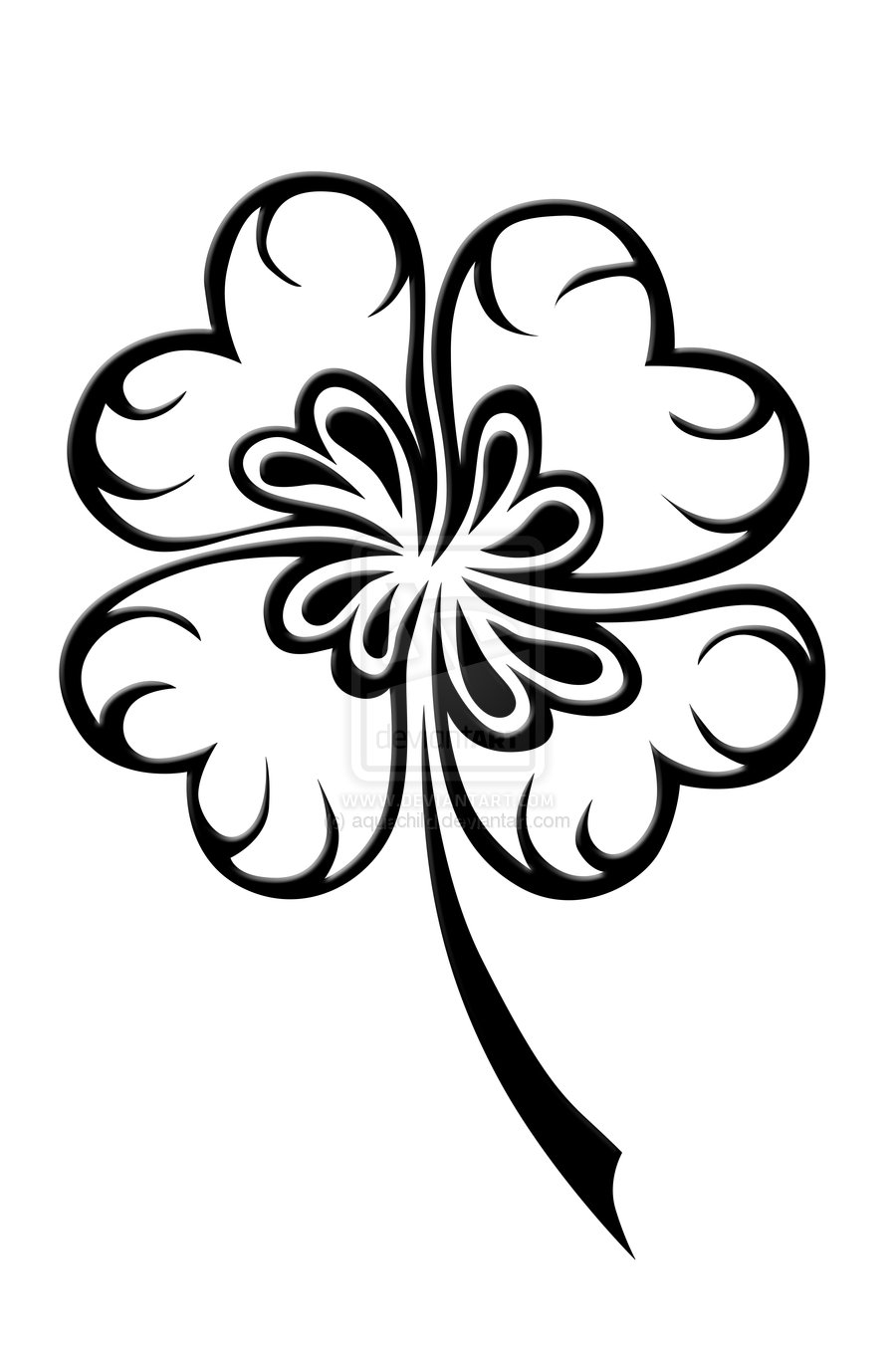 4 leaf clover coloring page - Coloring Pages & Pictures ...