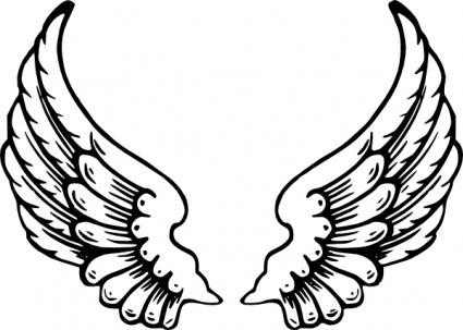 Art Simple Drawing Wings Clip Art Vector Free