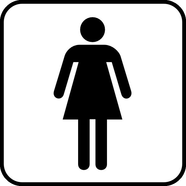 Woman Symbol Logo Woman Bathroom bw With Boarder
