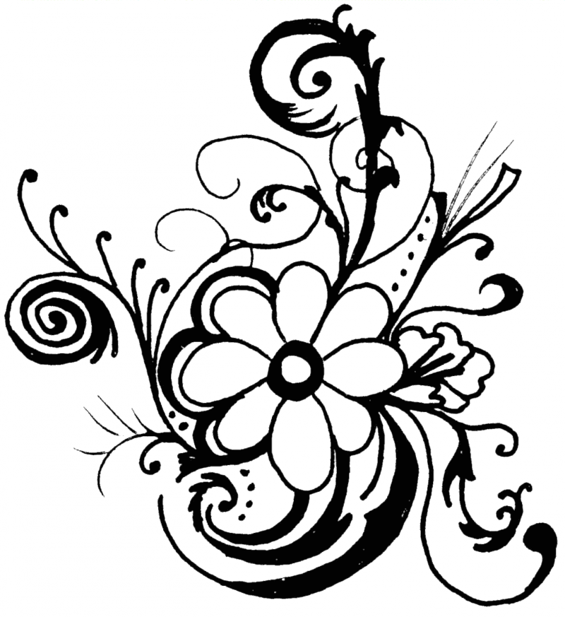 spring flower clipart black and white clipart best