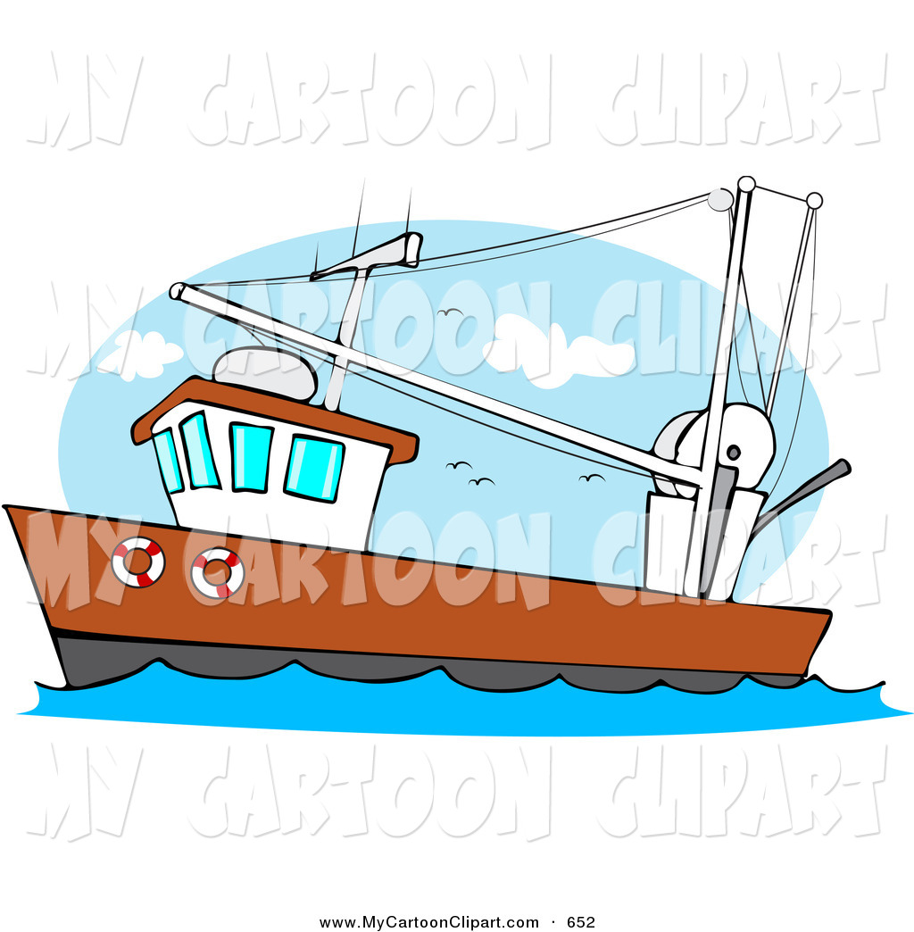 Clip Art of a Trawler Fishing Boat at Sea on the Waves by djart - #652